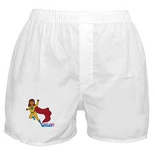 Superhero Girl Yellow and Blue Boxer Shorts
