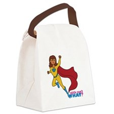 Superhero Girl Yellow and Blue Canvas Lunch Bag