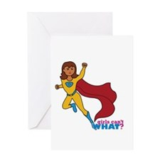 Superhero Girl Yellow and Blue Greeting Card