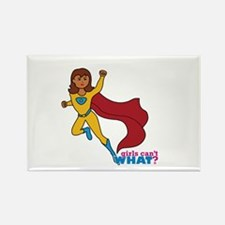 Superhero Girl Yellow and Blue Rectangle Magnet