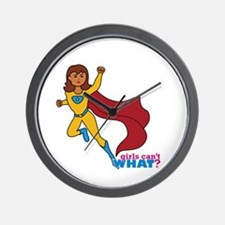 Superhero Girl Yellow and Blue Wall Clock