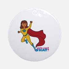 Superhero Girl Yellow and Blue Ornament (Round)