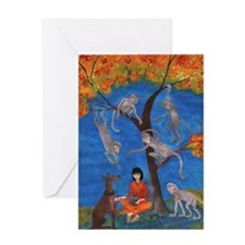 Puzzled Monkey Tree Greeting Card