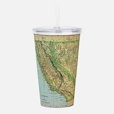 Vintage Map of Califor Acrylic Double-wall Tumbler