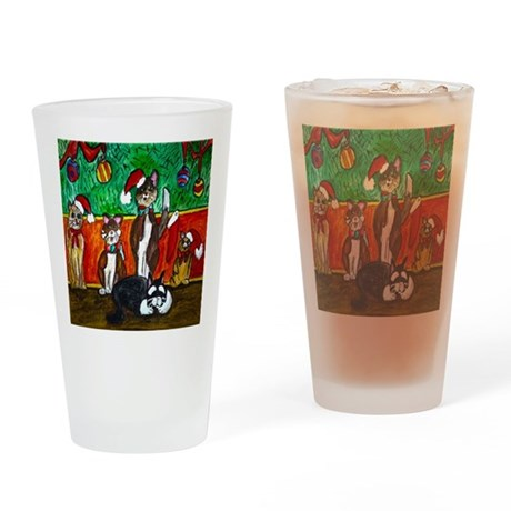 Merry Christmas Cats Drinking Glass