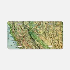 Vintage Map of California a Aluminum License Plate
