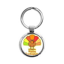 Happy Thanksgiving Turkey Round Keychain