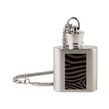 Chocolate Brown And Black Zebra Pri Flask Necklace
