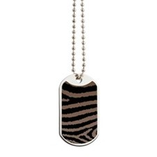 Chocolate Brown And Black Zebra Print Dog Tags