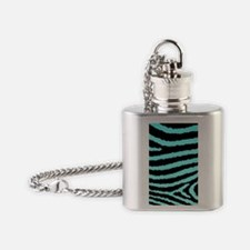 Aqua Blue And Black Zebra Print Flask Necklace