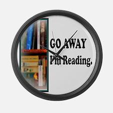 Go Away Im Reading Large Wall Clock