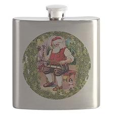 Santa In His Workshop Flask