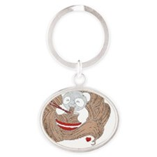 Panda Noodles Oval Keychain