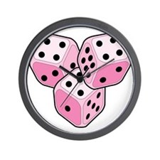 Bunco Breast Cancer Dice Wall Clock