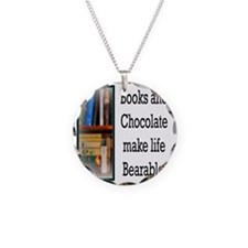 Books and Chocolate Necklace Circle Charm