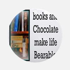 Books and Chocolate Round Ornament