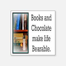 "Books and Chocolate Square Sticker 3"" x 3"""