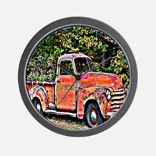 Antique Chevy Truck Crossing The Color  Wall Clock