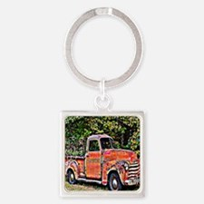 Antique Chevy Truck Crossing The C Square Keychain