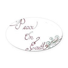 Peace on Earth Holiday card Oval Car Magnet