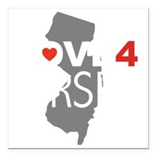 """Love 4 Jersey Square Car Magnet 3"""" x 3"""""""
