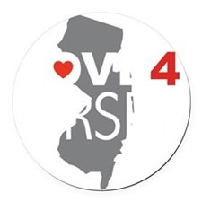 Love 4 Jersey Round Car Magnet
