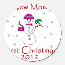 New Mom First Christmas Round Car Magnet