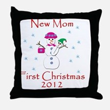 New Mom First Christmas Throw Pillow