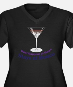 What Happens Women's Plus Size Dark V-Neck T-Shirt