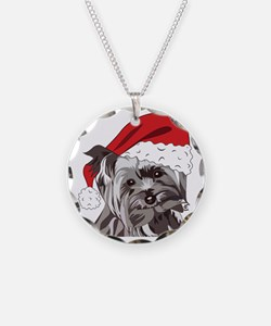 Cute Yorkie Christmas Puppy Necklace Circle Charm