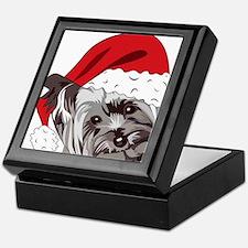 Cute Yorkie Christmas Puppy Keepsake Box