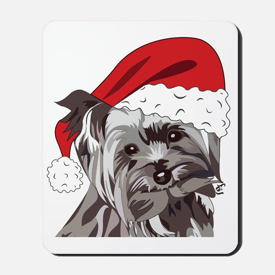 Cute Yorkie Christmas Puppy Mousepad