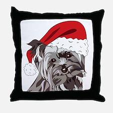Cute Yorkie Christmas Puppy Throw Pillow