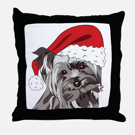 Cute Yorkie Christmas Puppy Throw Pillow