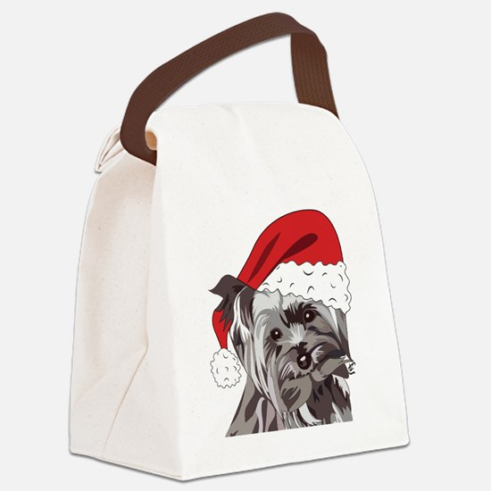 Cute Yorkie Christmas Puppy Canvas Lunch Bag