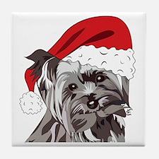 Cute Yorkie Christmas Puppy Tile Coaster