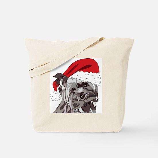 Cute Yorkie Christmas Puppy Tote Bag