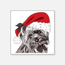 "Cute Yorkie Christmas Puppy Square Sticker 3"" x 3"""