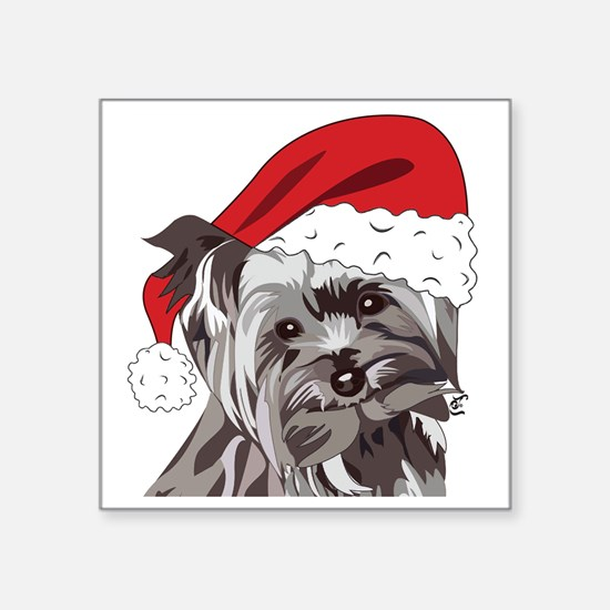 "Cute Yorkie Christmas Puppy Square Sticker 3"" x 3"""