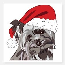 "Cute Yorkie Christmas Pu Square Car Magnet 3"" x 3"""