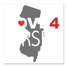 "Love 4 Jersey Square Car Magnet 3"" x 3"""
