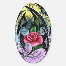 Pink Tribal Roses Sticker (Oval)
