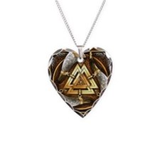 Norse Drinking Horn Valknut Necklace Heart Charm