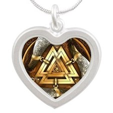 Norse Drinking Horn Valknut Silver Heart Necklace