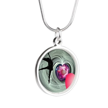 I Love To Dance! Silver Round Necklace