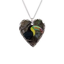 Keel-Billed Toucan Necklace Heart Charm