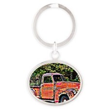Antique Chevy Truck Crossing The Col Oval Keychain