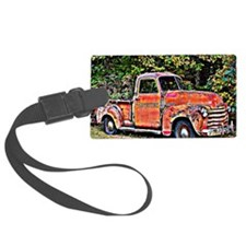 Antique Chevy Truck Crossing The Luggage Tag