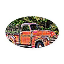 Antique Chevy Truck Crossing The C Oval Car Magnet