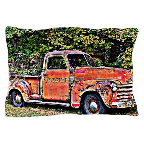 Antique Chevy Truck Crossing The Color Pillow Case